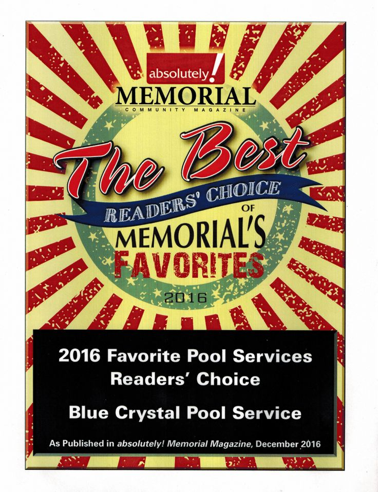 We have been blessed twice over. We were also recognized as 2016 Favorite Pool Services provider for absolutely! Magazine's Katy edition!