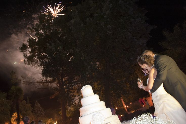 fireworks and the couple