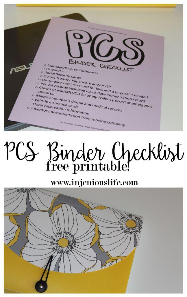 PCS Binder Checklist - free printable inside   lifestyle