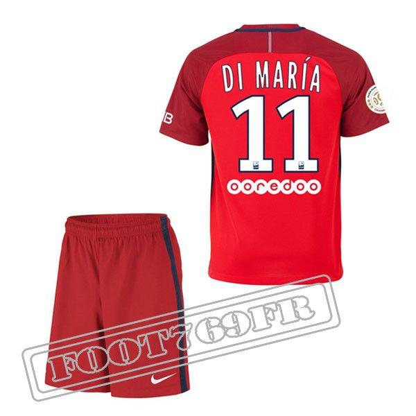 Personnalise Maillot De Di Maria 11 PSG Enfant Rouge 2016 17 Exterieur : Ligue 1