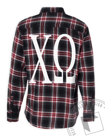 big one color greek letters on a plaid shirt use