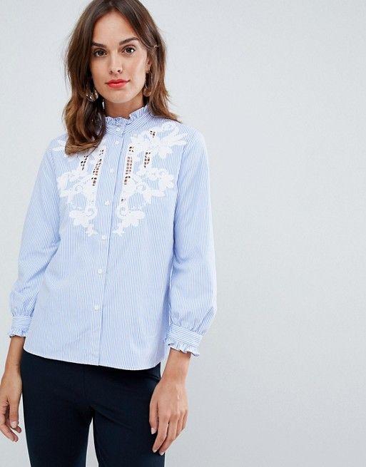 1e8e596f7988 French Connection Olasega embroidered high neck shirt | Asos