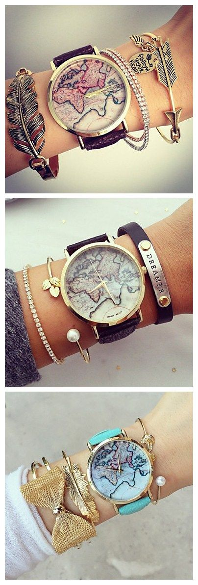 Unisex World Map Style Watch, perfect style when you match it with some of your bracelets. Try it! http://valuedvintage.com