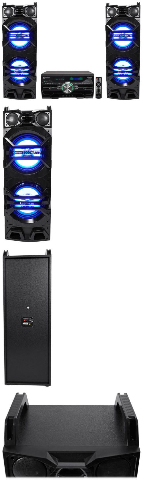 Home Theater Systems: (2) Technical Pro Dual 10 1500W Speakers W Led Lights + Dvd Receiver Amplifier -> BUY IT NOW ONLY: $399.95 on eBay!