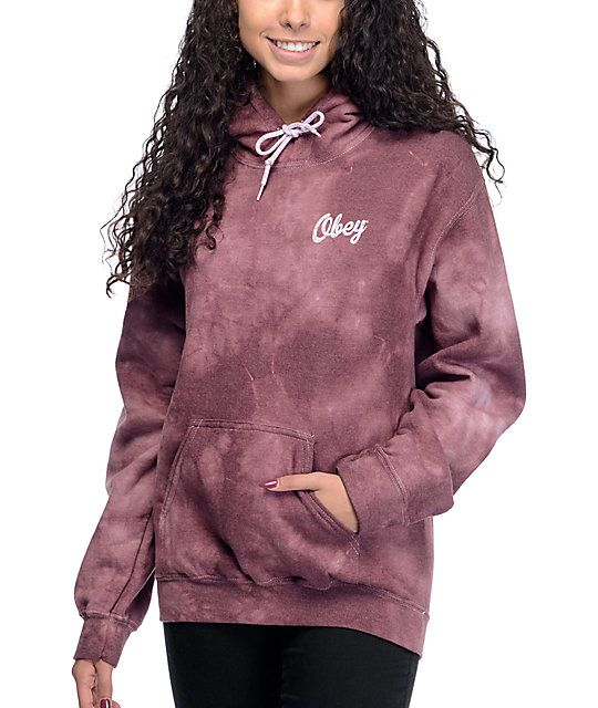 Obey Distressed Dewallen Burgundy Tie Dye Hoodie at Zumiez : PDP