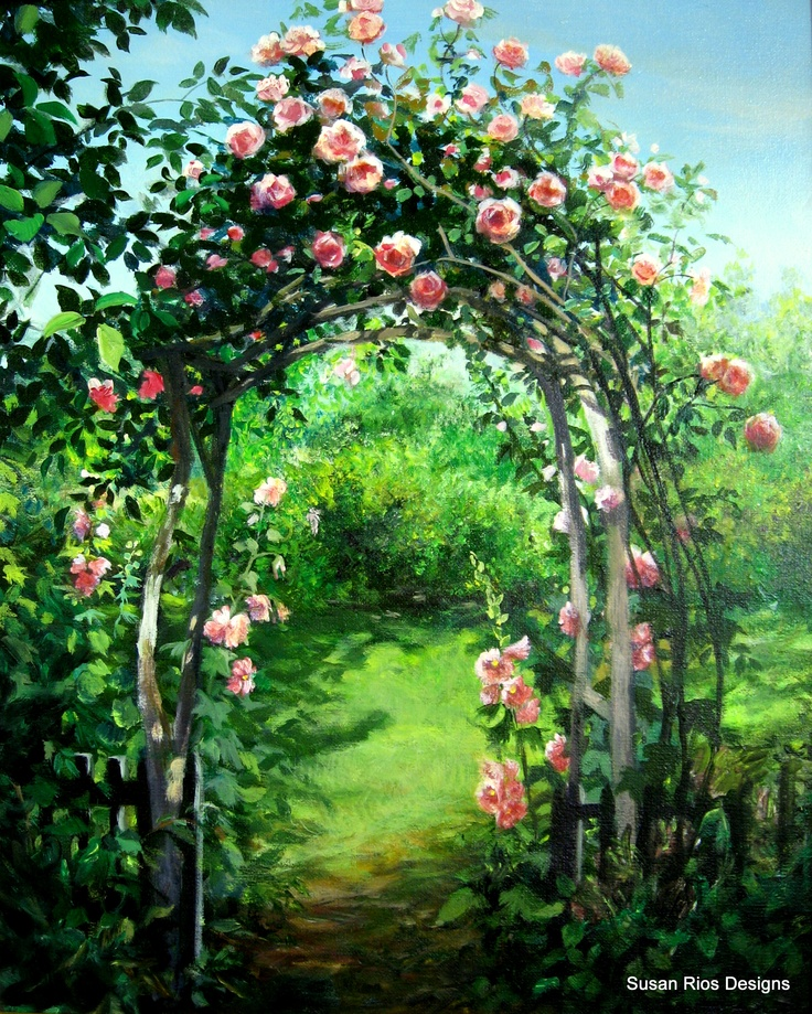 """""""Rose Arbor"""" was painted from a photo I took at Descanso Gardens, La Canada, Ca."""