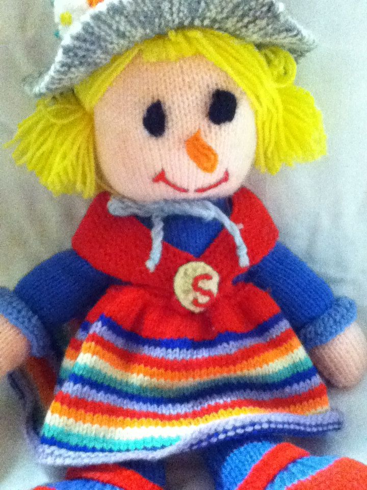 "Sally Scarecrow Handmade Knitted Doll - 15"" H by TotallyRetroVintage on Etsy"