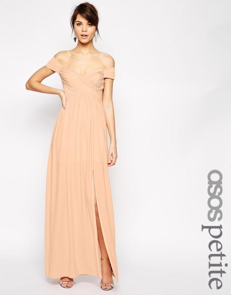ASOS PETITE Bardot Ruched Maxi Dress