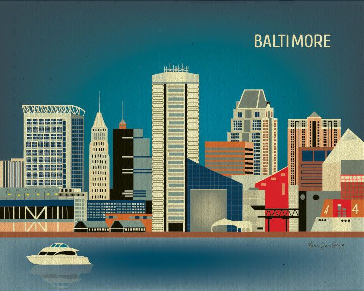 Baltimore, Maryland Skyline, Horizontal Art Poster Print For Home or Office -