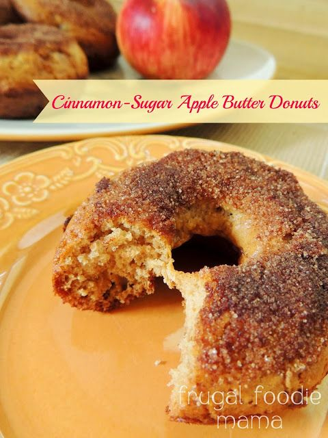Cinnamon-Sugar Apple Butter Donuts via thefrugalfoodiemama.com - soft baked donuts packed with apple flavor from apple butter and fresh apple chunks