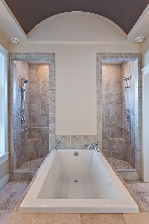 Love the his and hers shower - www.gnbbuilders.ca