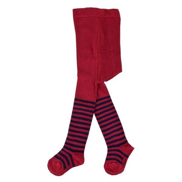Calzamaglia IOBIO rosso bacca con righe blu. Composizione: 98% cotone biologico, 2% elastan CODICE PRODOTTO: 094111-00/0350