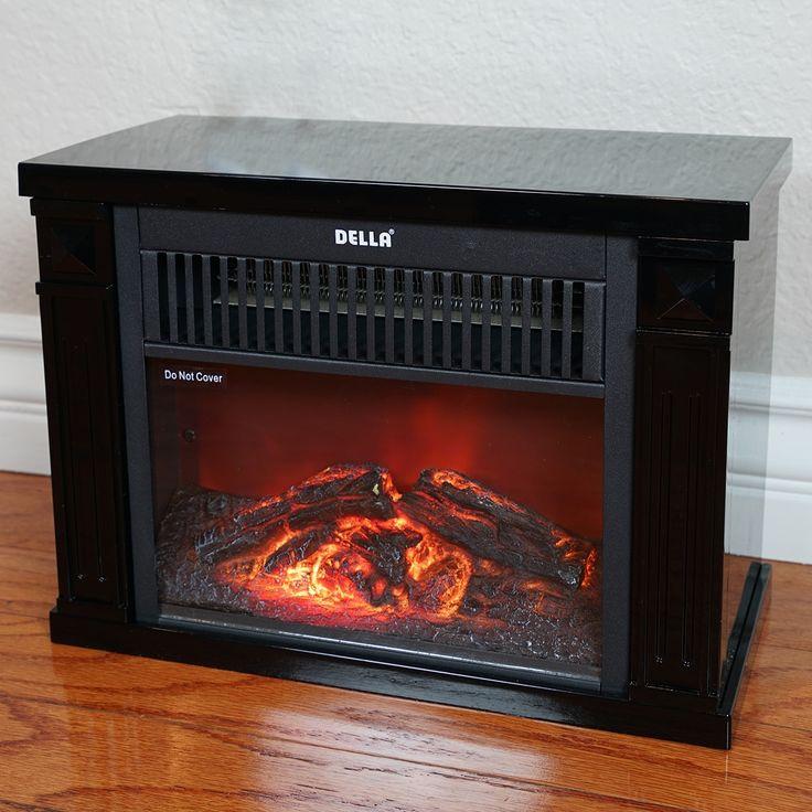 della 1200 watt hearth portable electric fireplace log flame mini desk tabletop black - Beste Wohnzimmerzubehor