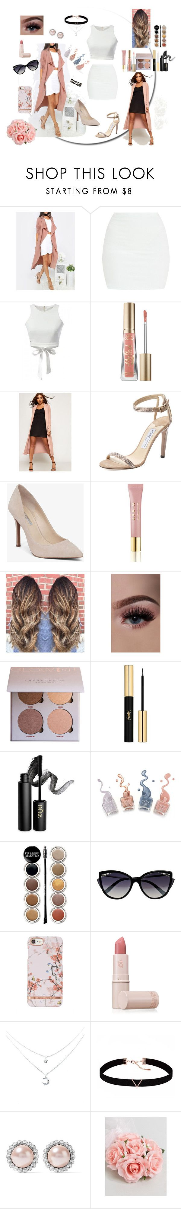 """""""Busy Fashion"""" by morgan2017 ❤ liked on Polyvore featuring Too Faced Cosmetics, WearAll, Jimmy Choo, BCBGeneration, AERIN, Yves Saint Laurent, INIKA, Giorgio Armani, La Perla and Lipstick Queen"""