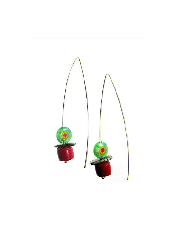 Red & green coral and sterling silver earrings