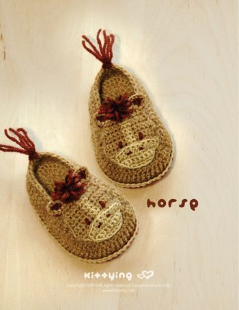 This pair of crochet baby booties looks just like a horse - and even includes a little tail!