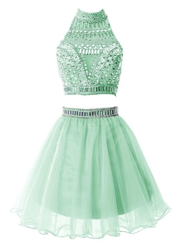 Green Two Pieces Short Halter Beautiful Handmade Homecoming Dress