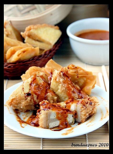 Batagor aka Fried Tofu and Fish Cakes covered with Peanut Sauce