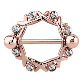 Rose Gold Crystal Jewelled Nipple Shield