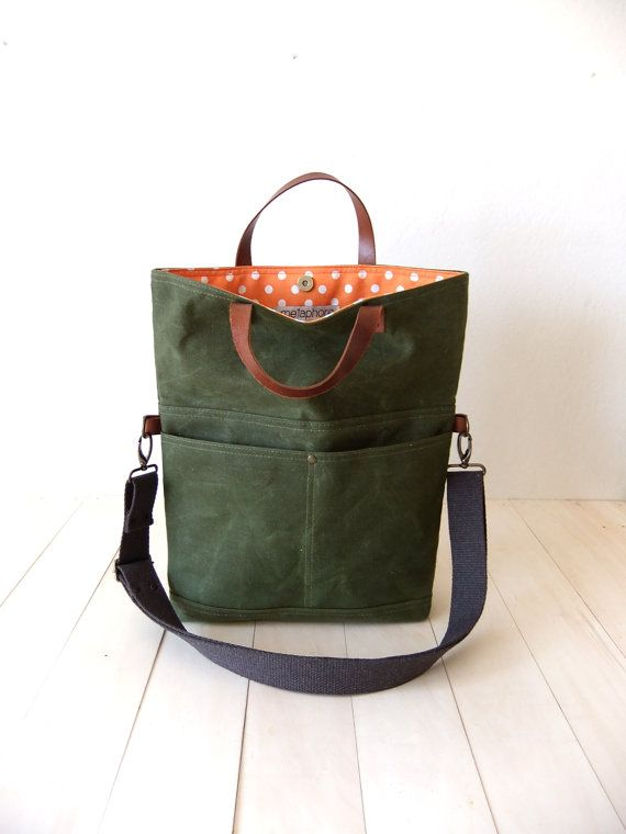 Waxed Canvas Foldover Bag - Convertible Tote - Purse Messenger Bag - Cotton Adjustable Strap - Leather Handles - Waterproof - Orange Lining