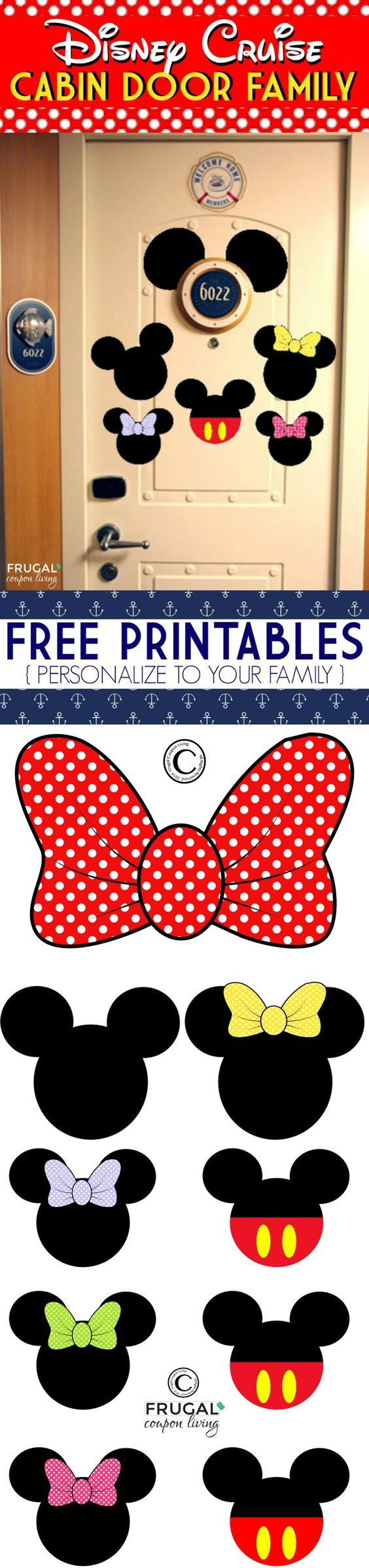 It was so fun seeing the Disney Tradition of everyone's door decorated on our Disney Cruise, that is why I had to create these  FREE Disney Cruise Door Printables - Personalize to your family, print now from Frugal Coupon Living.