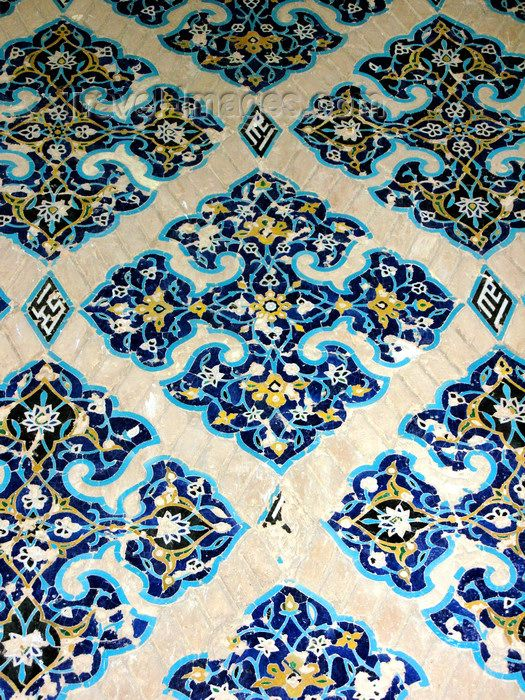 #iran474: Tabriz - East Azerbaijan, Iran: tiles - decoration at the Blue mosque - photo by N.Mahmudova - (c) Travel-Images.com - Stock Photography agency - Image Bank