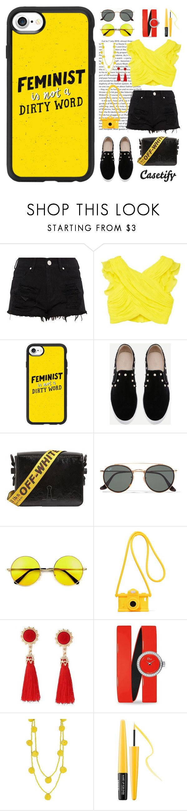 """Feminist🌹"" by casetify ❤ liked on Polyvore featuring MANGO, Casetify, Off-White, Ray-Ban, Moschino, Christian Dior, Humble Chic and MAKE UP FOR EVER"