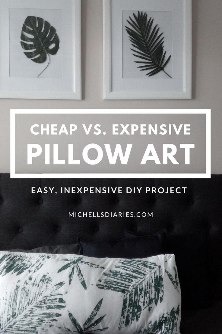 Monstera and palm pillow art DIY