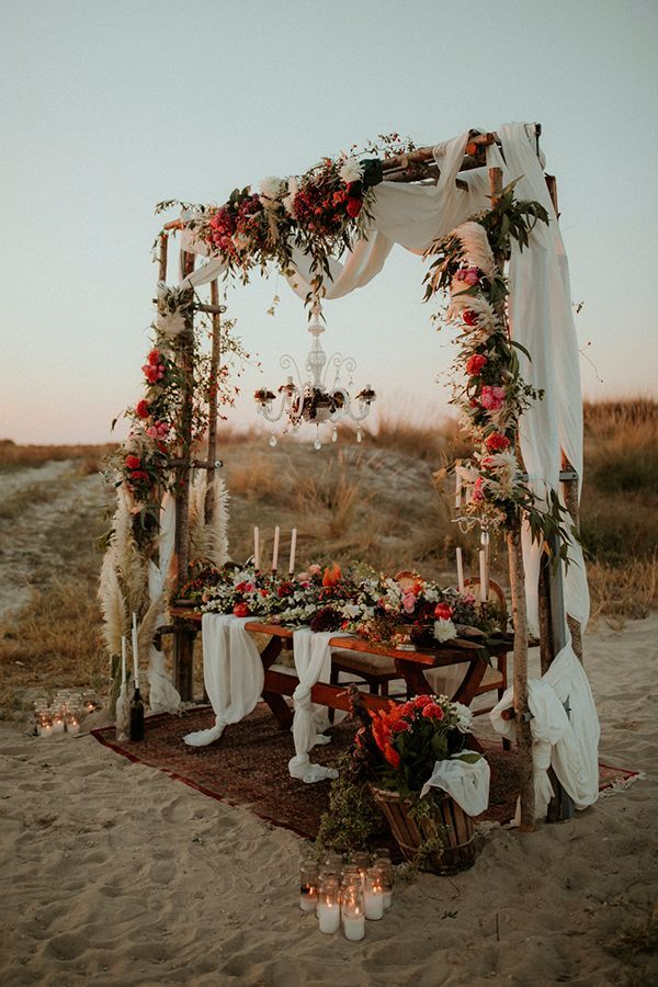 Desert wedding with boho florals.