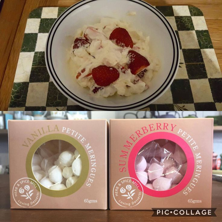 """Last night we made a """"Cambridge Mess."""" A very easy and delicious recipe to make over the festive season! All you need is 500mL of whipped cream, half a large punnet of strawberries and two packets of Herb & Spice Mill petite meringues."""