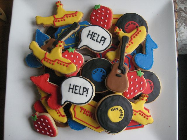 Help!  Strawberry Fields Forever. Yellow Submarine. Ticket To Ride. And various more obvious hits.  Cute stuff from Sugarlily Cookie