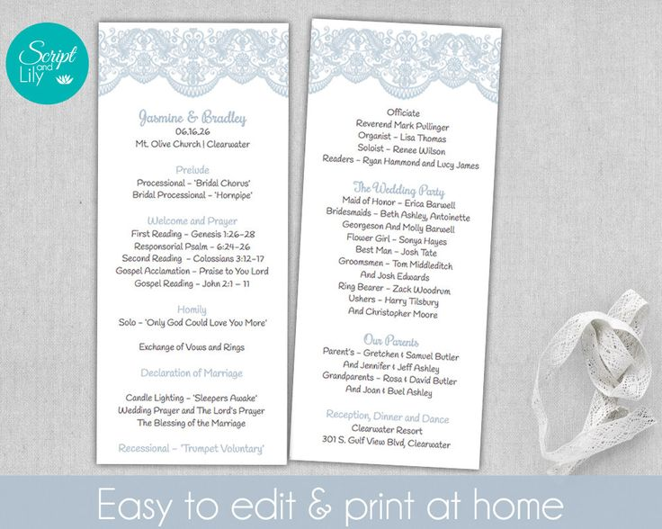 Lace Wedding Program Template Double Sided Free Color
