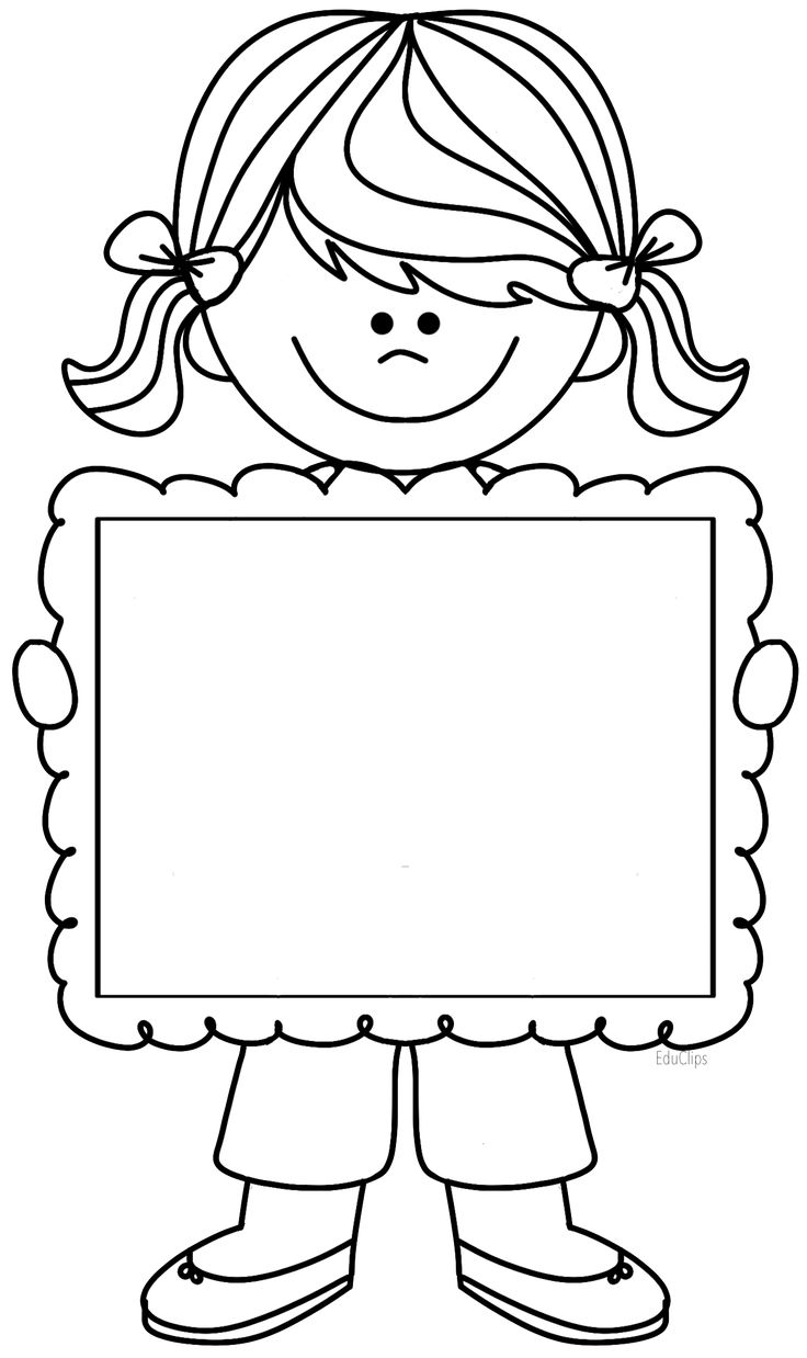 Cute girl clipart holding frame, there's space to write title if using it for folders/notebooks.