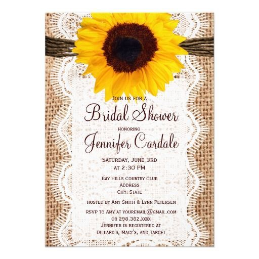 Rustic Bridal Shower Decorations | Rustic Burlap Sunflower Bridal Shower Invitations | Party Ideas