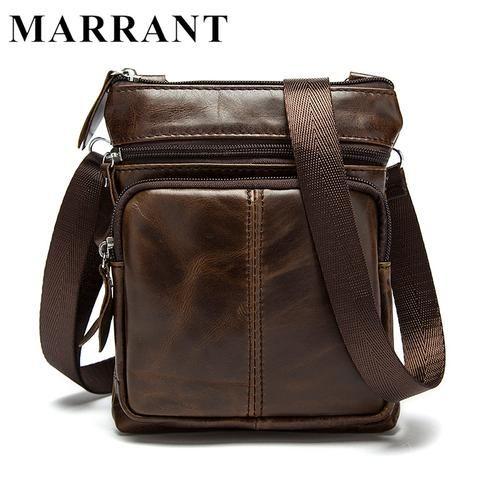 Genuine Leather Small Shoulder Crossbody Bag for Men