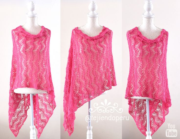 Poncho de encaje tejido a dos agujas paso a paso!  Knitted lace poncho!