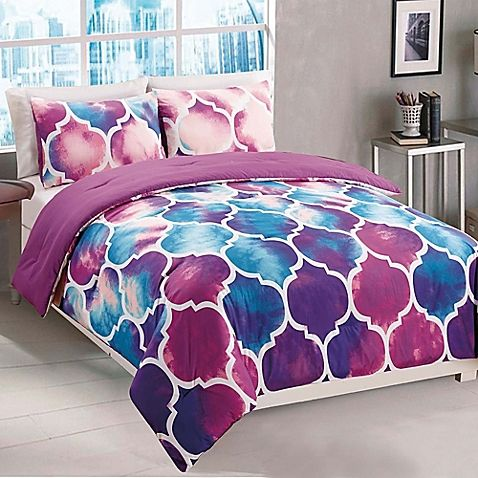 Watercolor prints decorate this Emmi 2-Piece Comforter Set with a trellis pattern and vibrant hues of purple and blue. This trendy comforter set will liven up any bedroom with its modern feel and bright colors.
