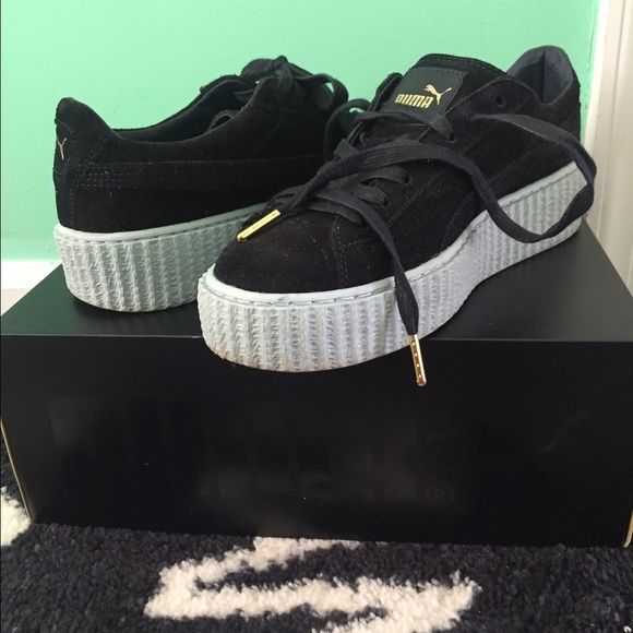 *SOLD* Rihanna Puma Suede Creepers size 8.5 Rihanna Puma Suede Creepers, size 8.5 but can also fit an 8, these are sold out everywhere. Only worn once, I don't really like this color I would've rather the oatmeal ones or the pink ones. Also comes with the original box and an extra pair of navy blue laces. Message me if you have any questions :) Puma Shoes