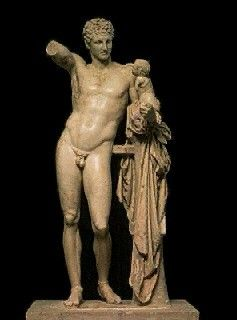 Hermes and the infant Dionysos, from the Temple of Hera, Olympia, Greece.