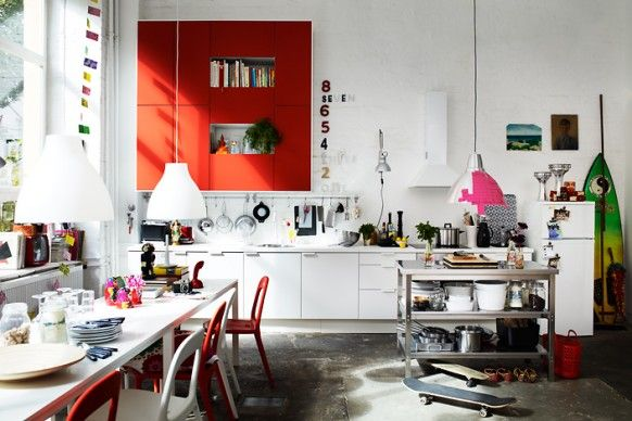 cluttered kitchen space