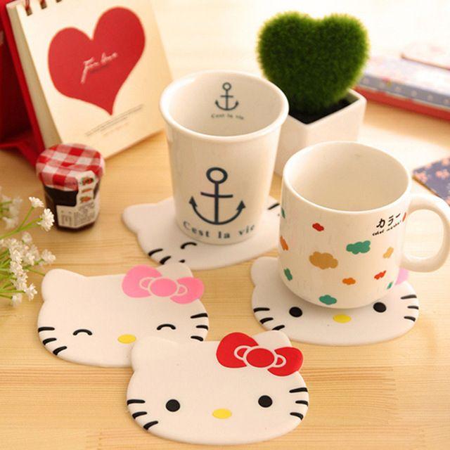 4 шт./лот Hello kitty Kawaii коврик чашки каботажное судно столовых для кружки чая и кофе Силиконовый коврик Стол украшения Школьные принадлежности 5209
