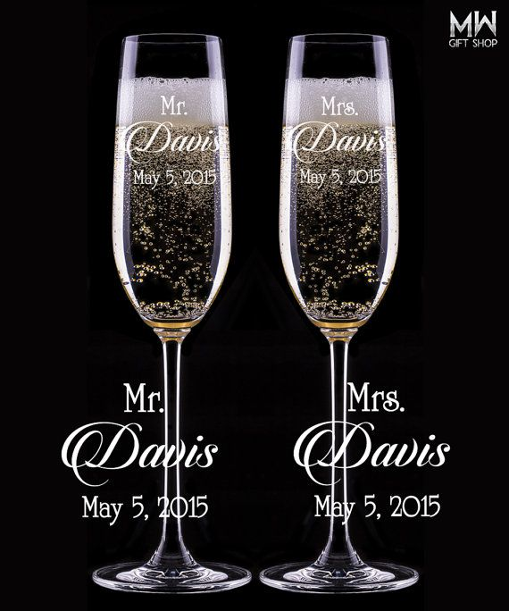 Custom Wedding Champagne Glasses Engraved Flutes Toasting For Bride And Groom