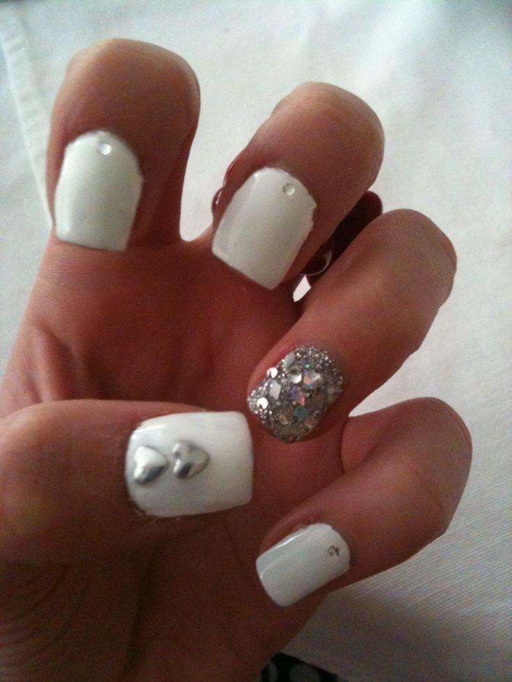 white spring nails with glitz