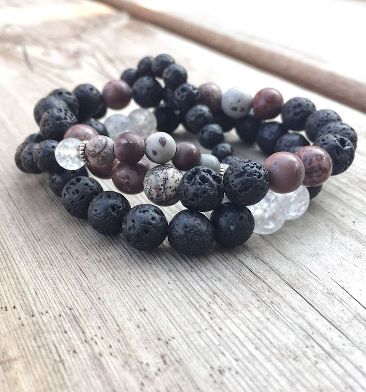 Set of 3 stacking beaded bracelets / natural stone jewelry /