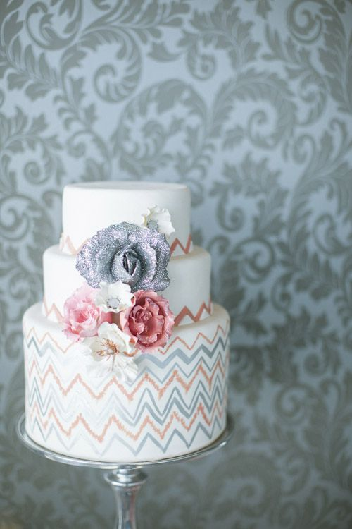 coral and orange chevron wedding cake by The Caketress, photos by Tyler James Photography