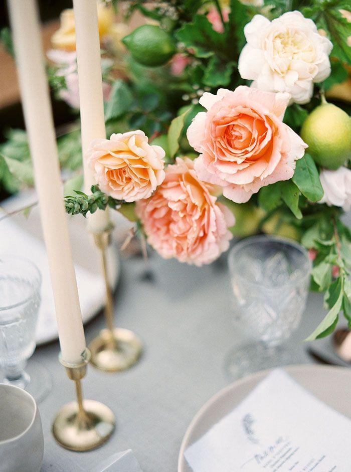 Elegant Rose Centerpiece with Taper Candles | Taralynn Lawton Photography | http://heyweddinglady.com/ethereal-spring-fine-art-rose-garden-wedding-shoot