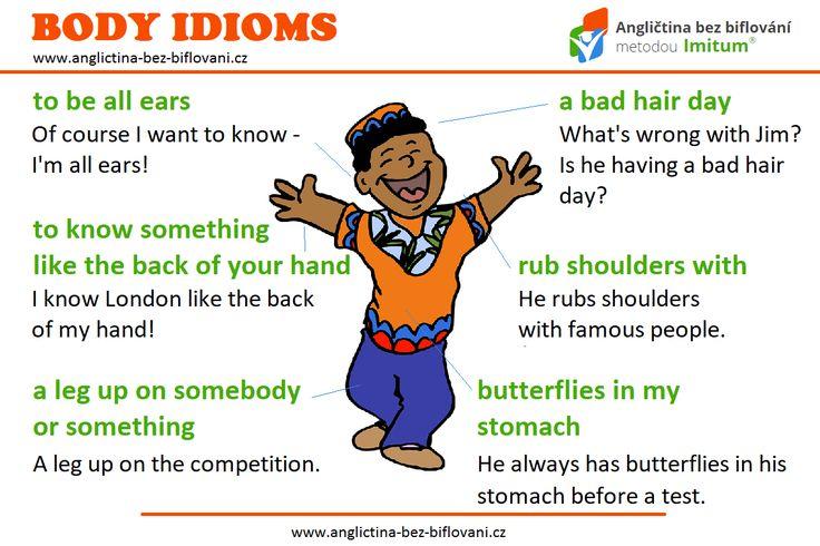 Podívejte se na malý přehled idiomů obsahujících názvy částí lidského těla. 🚶👂🤚 #anglictina #idiomy #telo