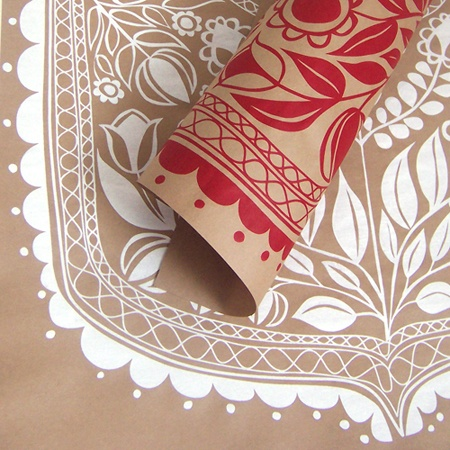 Silk-screen printed wrapping paper - RED ~ Likonik