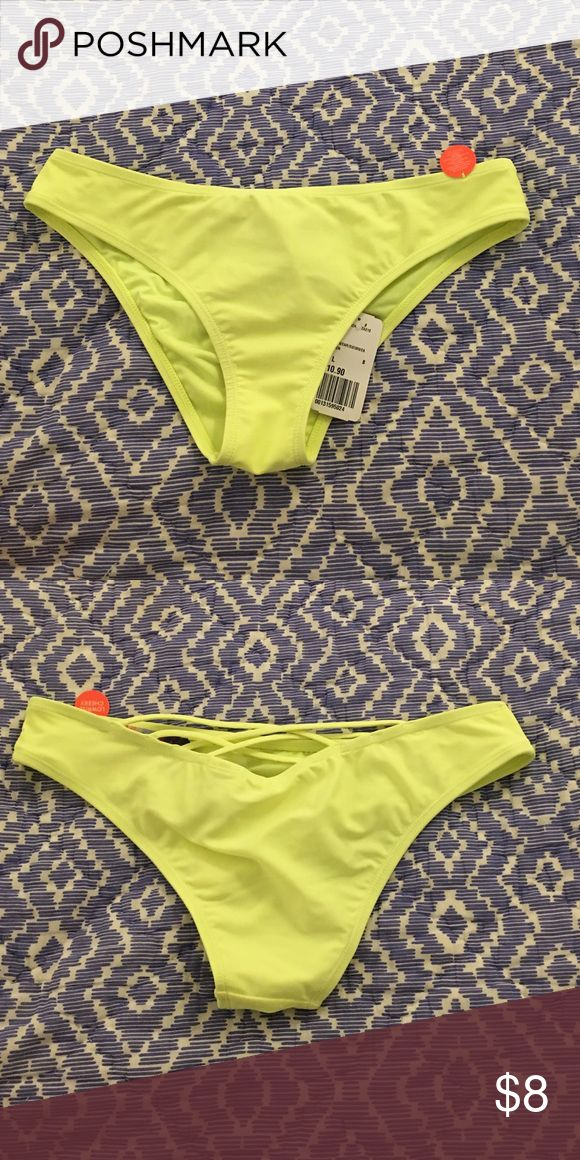 Forever 21 Bright Yellow Bikini Bottoms Size Large New with tags Bright Yellow forever 21 bikini bottoms. Size Large Forever 21 Swim Bikinis