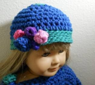 Crochet an American Girl Doll hat with flowers Free pattern